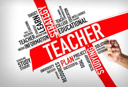 Education concept - hand writing Teacher Word Cloud concept Stock Photo