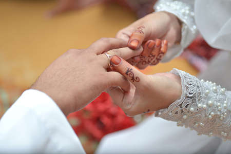 Bride hand at marriage day