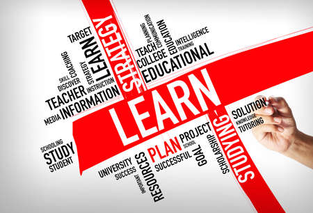 Education concept - hand writing Learn Word Cloud concept Stock Photo