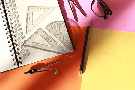 Creative arrangement of geometry - Education in mathematics. architecture and engineering concept