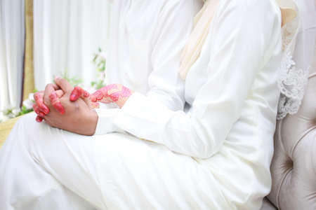Romantic wedding couple. muslim wedding ceremony. solemnization