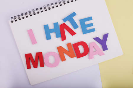 I HATE MONDAY word concept writing by by wooden block Imagens