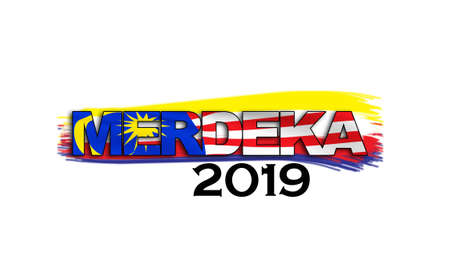 Malaysia independent day concept with 'Merdeka 2019' word flag on white background.