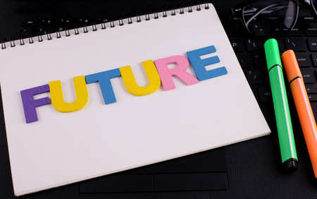 FUTURE word concept writing by wooden block