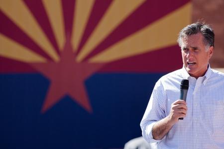 Mitt Romney Campaigns In Arizona Before Hispanics Stock Photo - 13315879