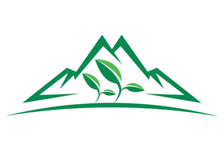 mountain green tea plantation logo icon