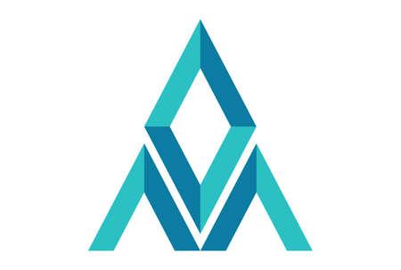 abstract letter A diamond mountain logo icon