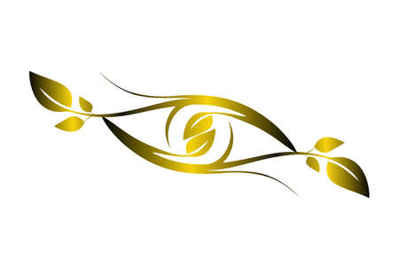 abstract eye vision nature plant gold concept logo icon