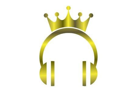 king music headphone gold concept logo icon