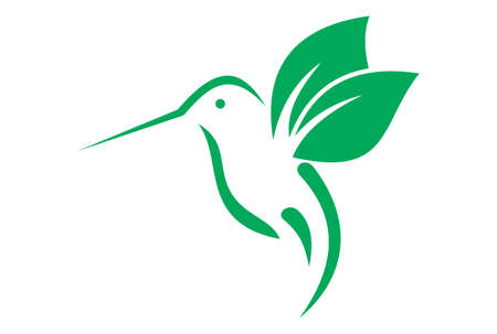hummingbird icon vector green color  イラスト・ベクター素材