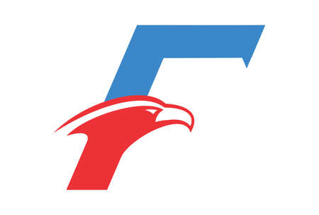 letter F abstract eagle icon vector