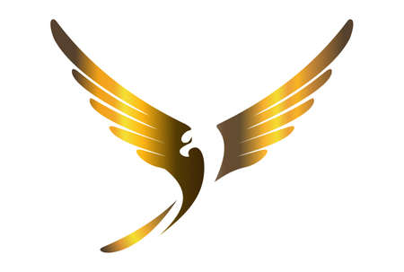 Eagle fly gold color concept abstract graphic vector design logo icon