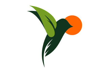 abstract bird leaves plant and sunset logo design icon Illustration