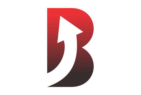 letter B up arrow graphic abstract vector design logo icon