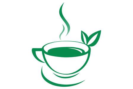 Hot tea green tea logo Stock Vector - 100656452