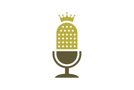 king microphone recording logo vector icon