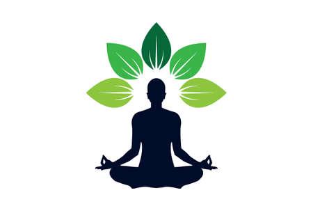 Yoga meditation logo icon isolated on a white background