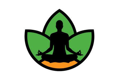 yoga meditation logo icon vector concept
