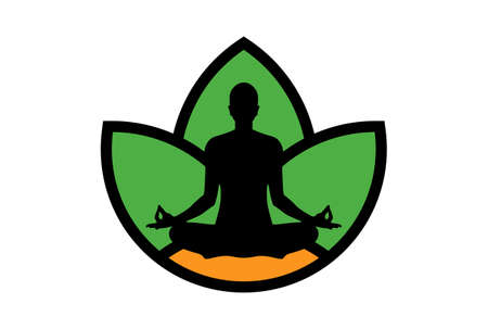 yoga meditation logo icon vector concept