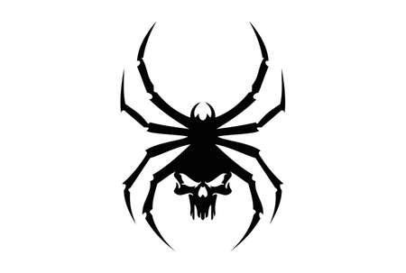 zwarte spin schedel logo tribal pictogram