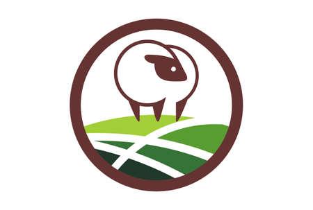 sheep farm plantation logo icon