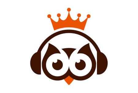 king owl music headphone logo icon vector Çizim
