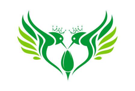 hummingbirds king abstract love icon logo vector concept flat design