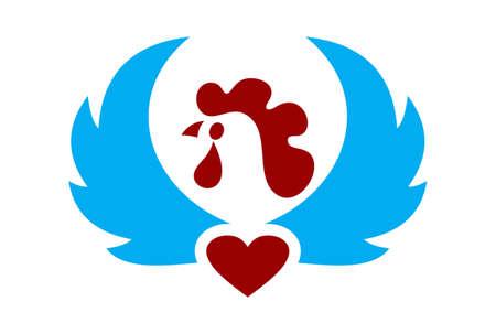 oiseau poulet amour logo icône vecteur concept design plat Logo