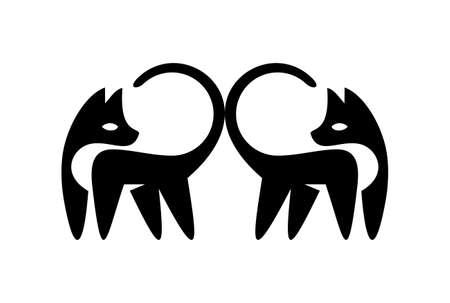 duo cat logo vector icon vector concept flat design pets
