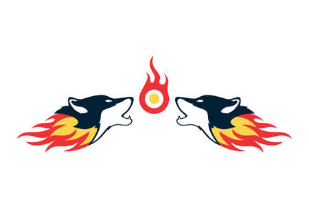 two fire wolf logo concept icon vector concept flat design Illustration