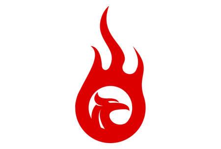 eagle fire abstract logo icon vector concept flat design