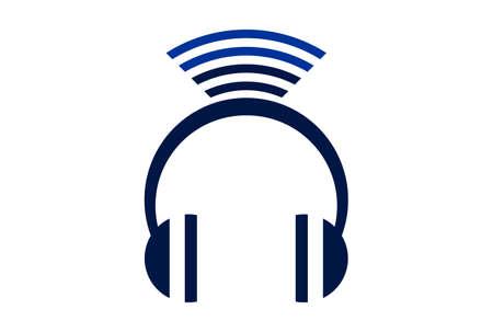 headphone wireless logo concept icon vector concept flat design