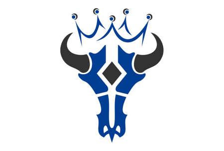 king bull skull logo icon vector concept flat design 向量圖像