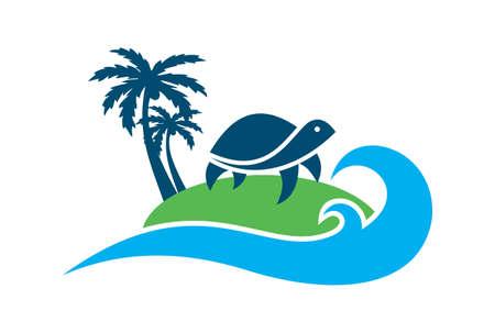 turtle island archipelago concept logo icon vector concept flat design