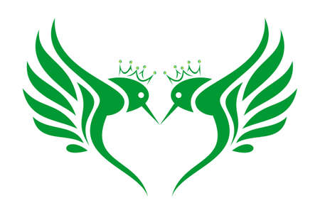 king hummingbirds logo letter M icon concept vector concept flat design