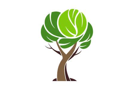 tree logo plant green icon vector concept flat design