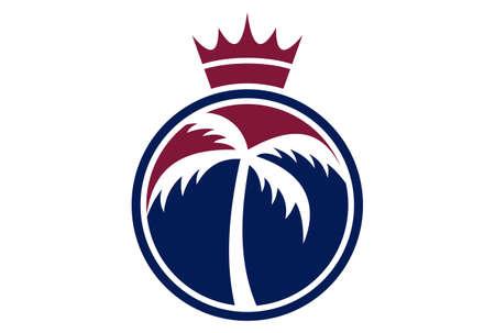 king palm logo concept icon vector concept flat design 免版税图像 - 117187360