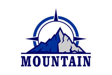 mountain logo compass icon vector vector concept design