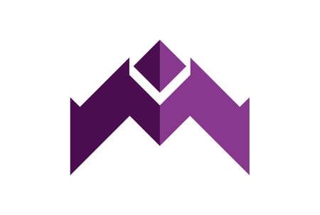 letter m up arrow logo icon vector vector concept flat design 矢量图像