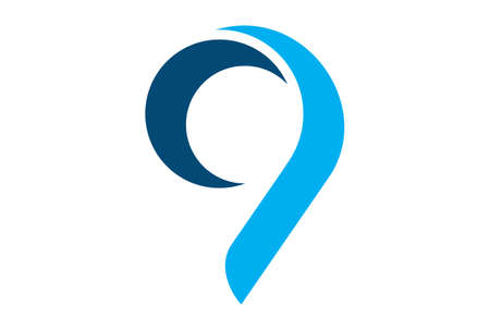 number nine 9 icon logo vector concept flat design