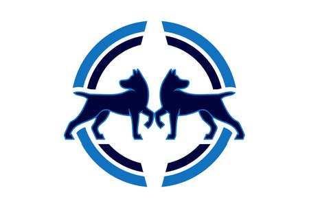two dog abstract concept logo icon vector concept flat design