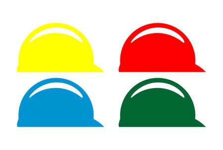 safety helmet color logo icon vector concept flat design