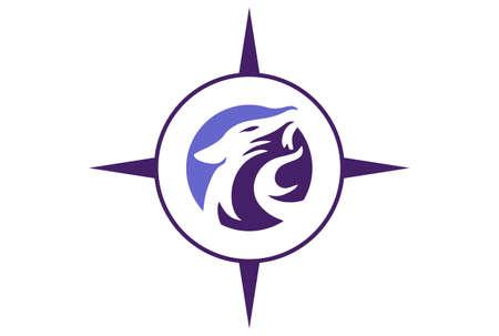 jaguar compass abstract logo icon vector concept flat design 矢量图像