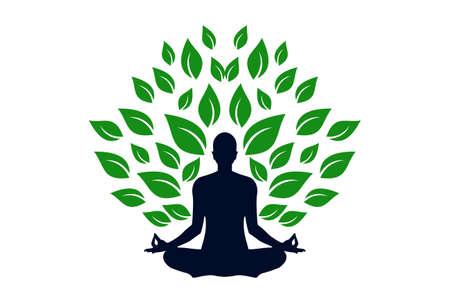 yoga meditation concept logo icon vector concept flat design