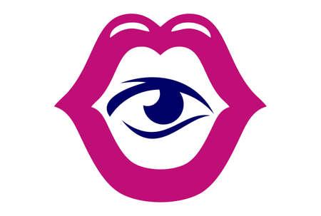 mouth lips eye concept logo icon vector concept flat design Ilustração