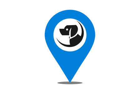 location dog logo icon vector vector concept flat design 矢量图像
