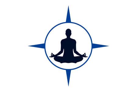 yoga compass meditation concept logo icon vector concept flat design
