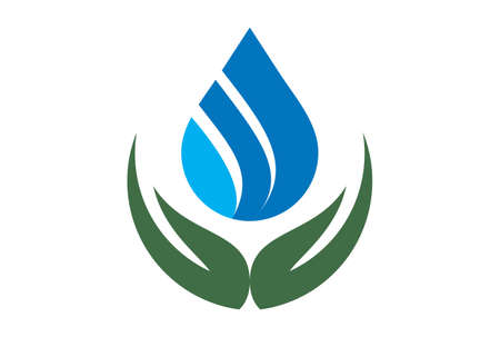 water leaf abstract hand logo icon vector concept flat design