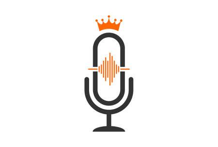 microphone king record logo icon vector concept flat design 矢量图像