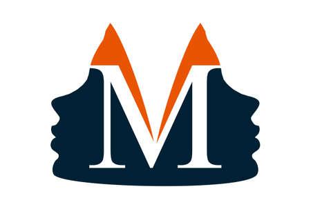 letter m woman logo icon vector concept flat design
